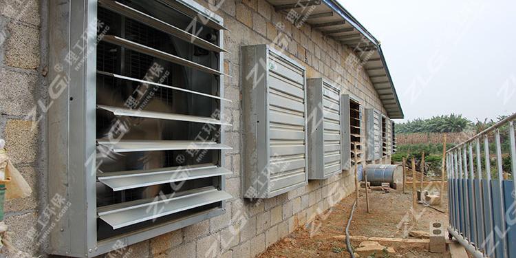 养猪场水帘负压风机降温,养殖场降温专家